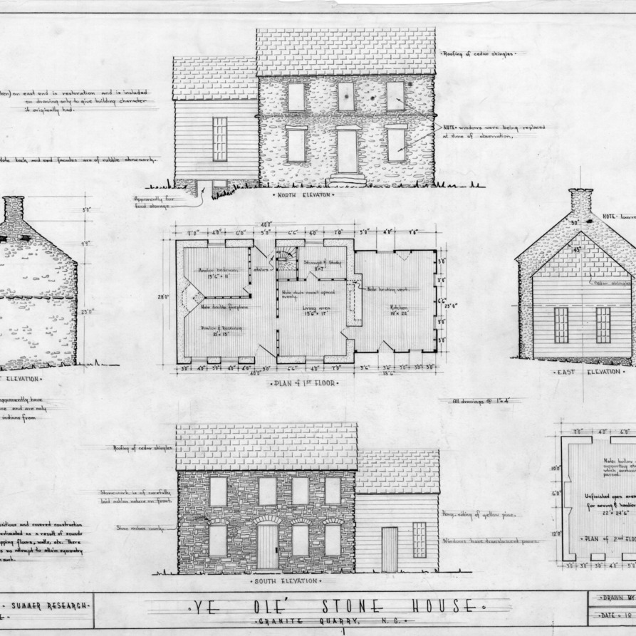 Elevations and floor plans, Michael Braun House, Rowan County, North Carolina