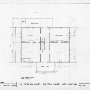 First floor plan, Thompson House, Guilford County, North Carolina