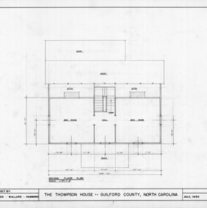 Second floor plan, Thompson House, Guilford County, North Carolina