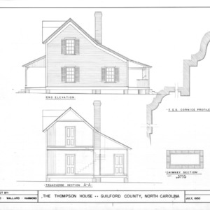 Side elevation, cross section, and details, Thompson House, Guilford County, North Carolina