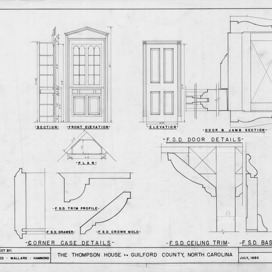 Cabinet and door details, Thompson House, Guilford County, North Carolina