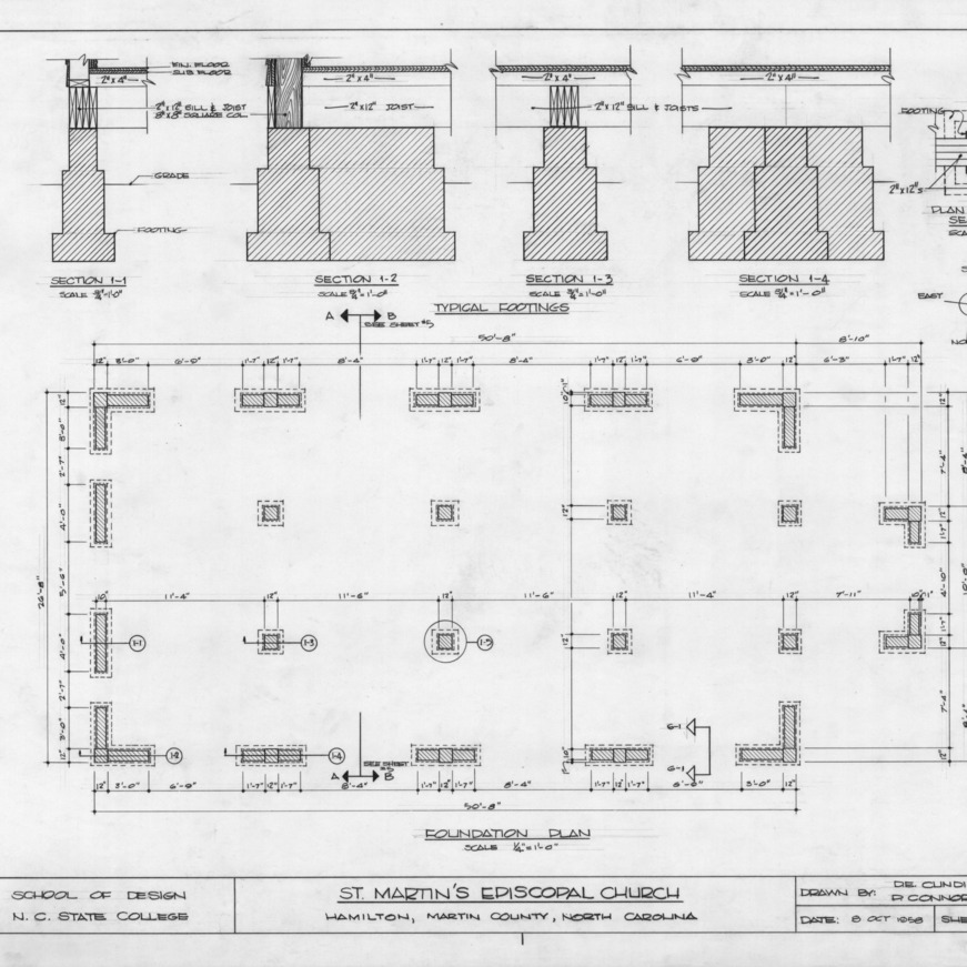 Foundation plan and footing details, St. Martin's Episcopal Church, Hamilton, North Carolina