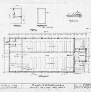 Floor plan and pew details, St. Martin's Episcopal Church, Hamilton, North Carolina