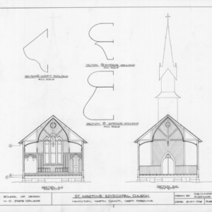 Cross sections and trim details, St. Martin's Episcopal Church, Hamilton, North Carolina