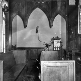 Interior detail with pews, St. Martin's Episcopal Church, Hamilton, North Carolina