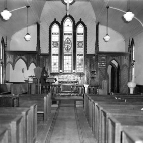 Interior view with stained glass windows, St. Martin's Episcopal Church, Hamilton, North Carolina