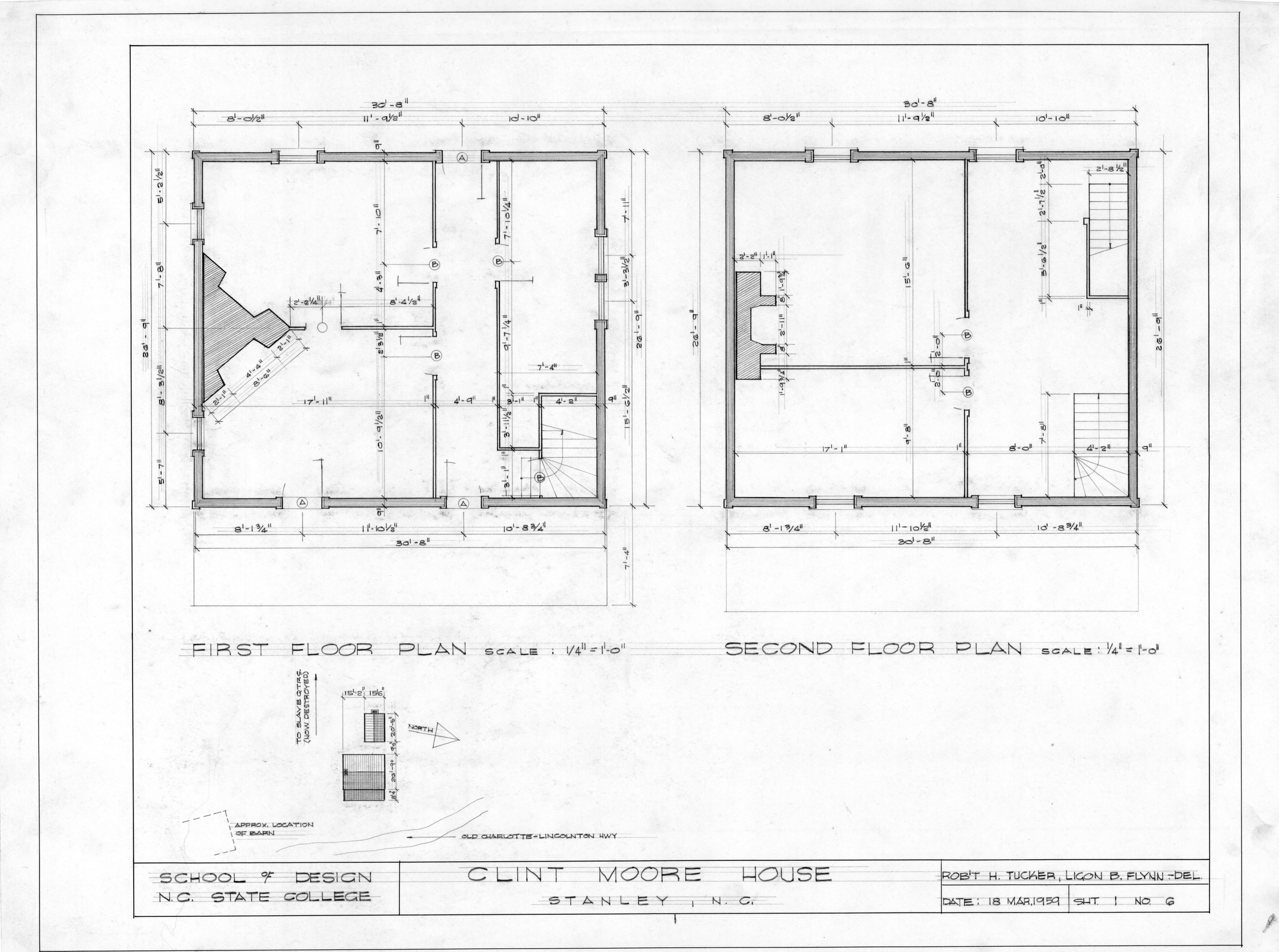 First And Second Floor Plans Clint Moore House Gaston