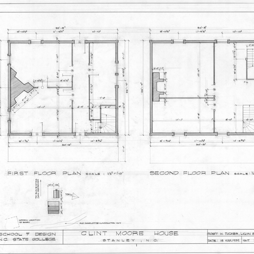 First and second floor plans, Clint Moore House, Gaston County, North Carolina