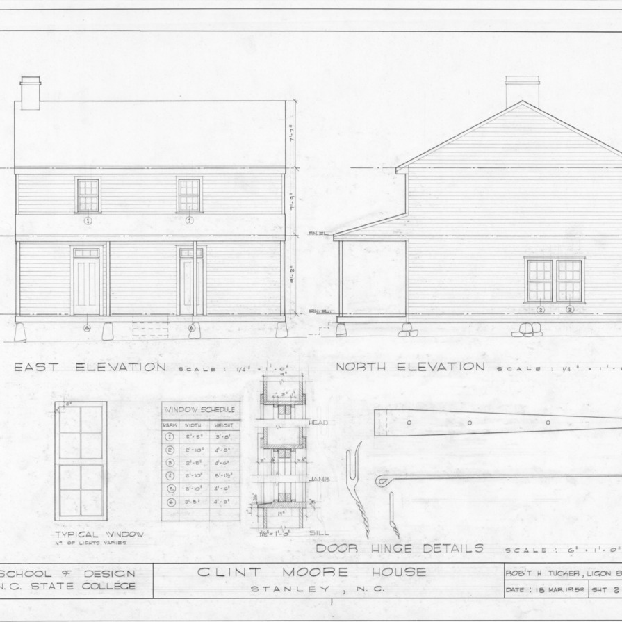 Elevations, window schedule, and details, Clint Moore House, Gaston County, North Carolina