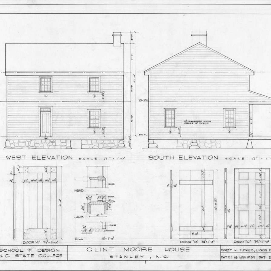 Elevations and door details, Clint Moore House, Gaston County, North Carolina