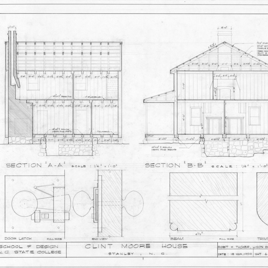 Sections and details, Clint Moore House, Gaston County, North Carolina