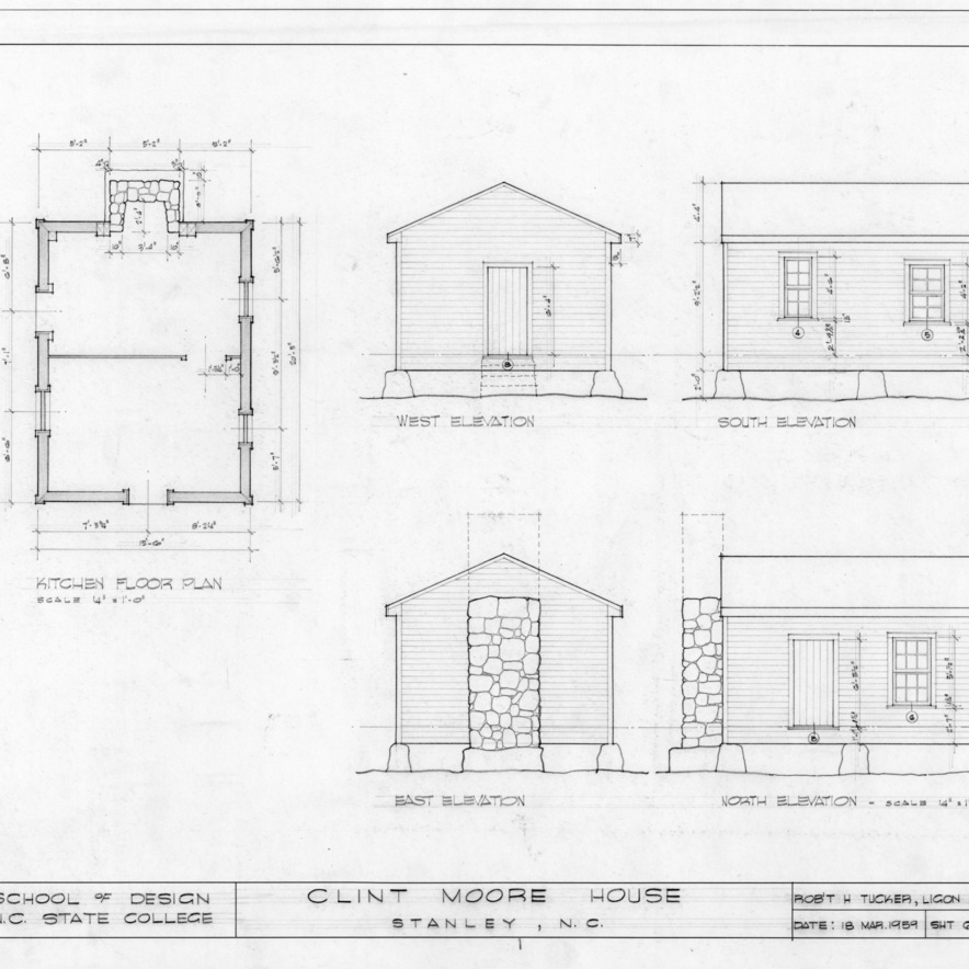 Kitchen elevations and floor plan, Clint Moore House, Gaston County, North Carolina