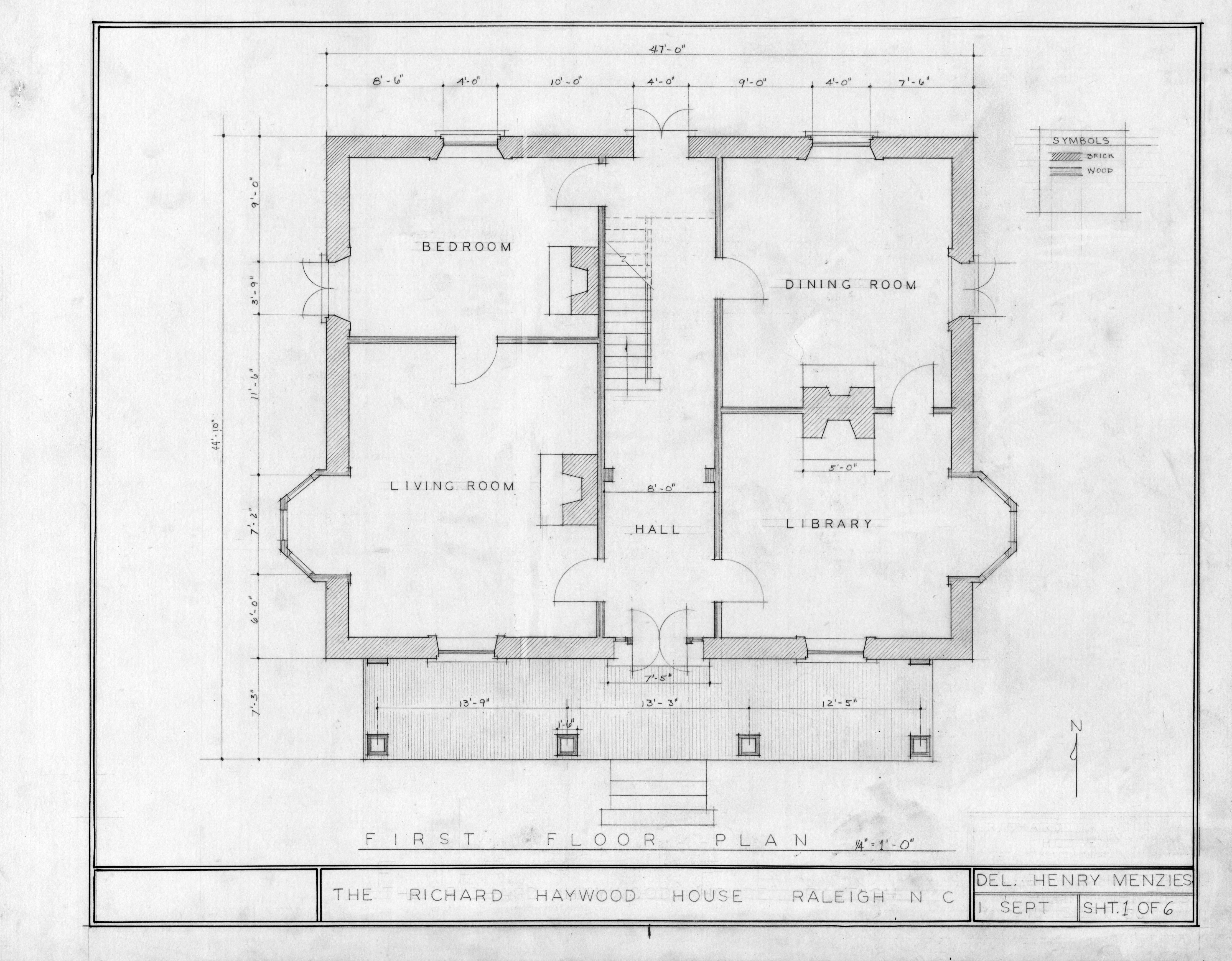 First Floor Plan Richard Bennehan Haywood House Raleigh