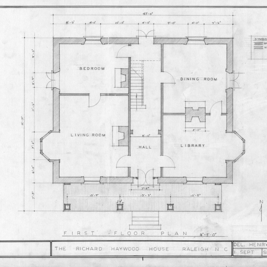 First floor plan, Richard Bennehan Haywood House, Raleigh, North Carolina