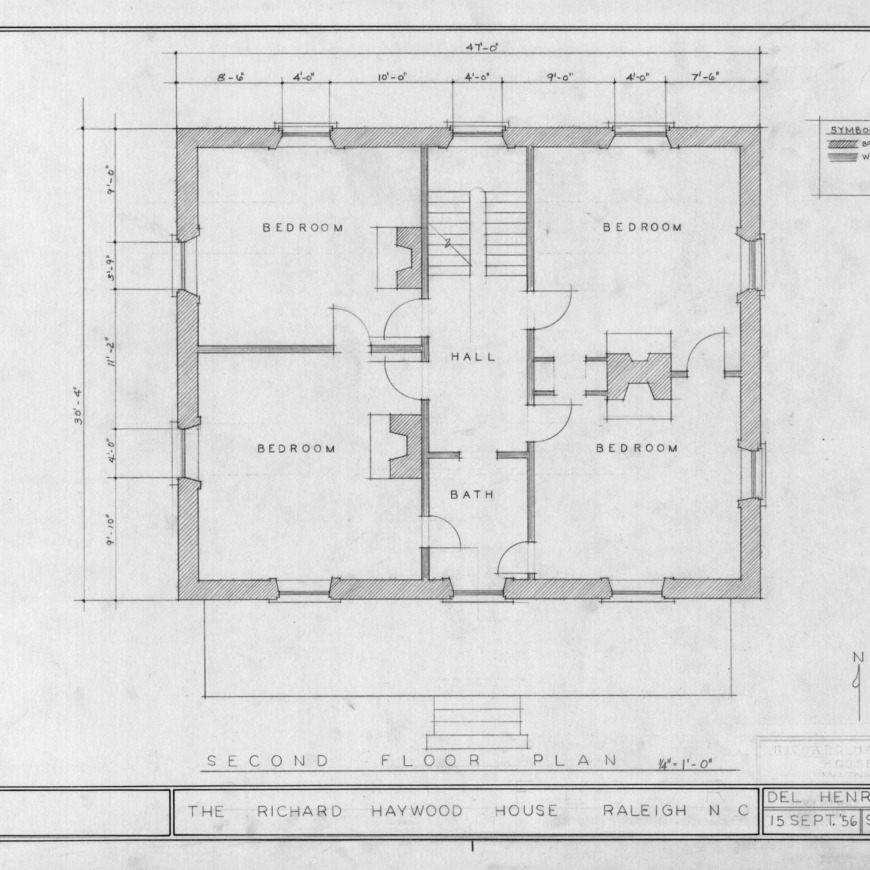 Second floor plan, Richard Bennehan Haywood House, Raleigh, North Carolina