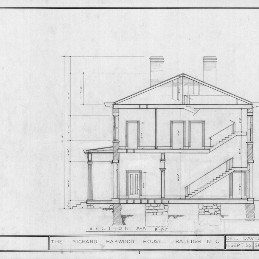 Cross section, Richard Bennehan Haywood House, Raleigh, North Carolina