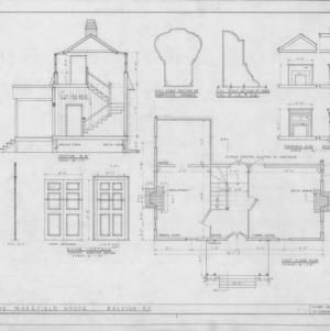 Cross section, details, and first floor plan, Joel Lane House, Raleigh, North Carolina