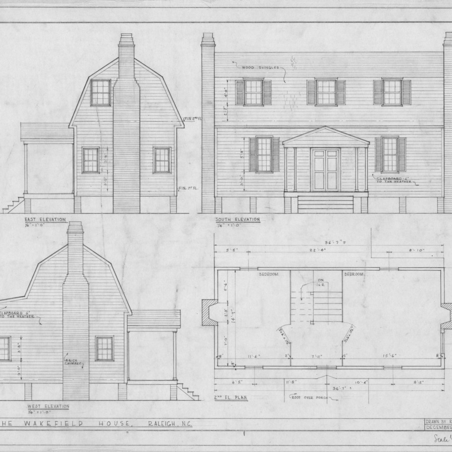 Elevations and second floor plan, Joel Lane House, Raleigh, North Carolina