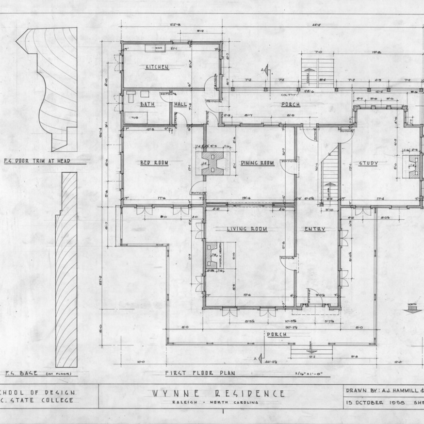 First floor plan and details, Wynne House, Raleigh, North Carolina
