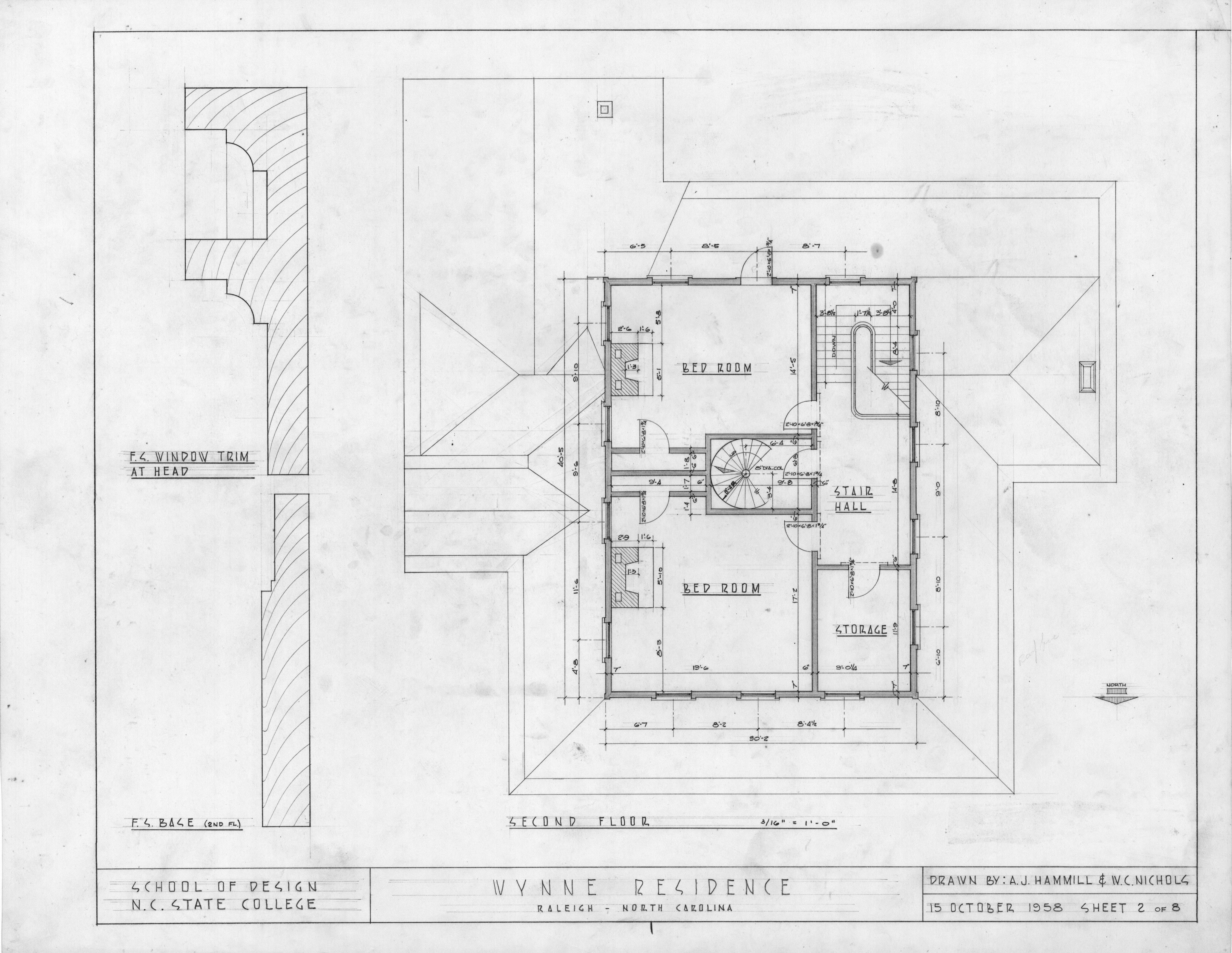 Second floor plan and details wynne house raleigh north North carolina house plans