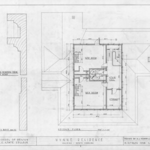 Second floor plan and details, Wynne House, Raleigh, North Carolina