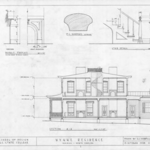 Section, fireplace, and stair details, Wynne House, Raleigh, North Carolina