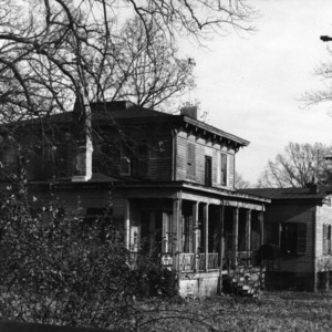 View with porch and outbuilding, Wynne House, Raleigh, North Carolina