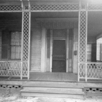 Porch with door, Wynne House, Raleigh, North Carolina