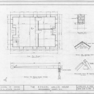 Second floor plan and details, Ezekiel Wallis House, Mecklenburg County, North Carolina