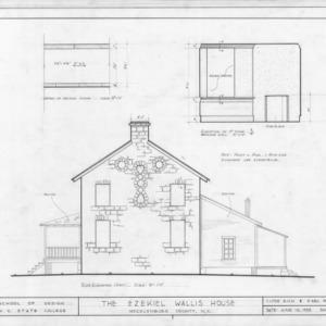 East elevation and details, Ezekiel Wallis House, Mecklenburg County, North Carolina