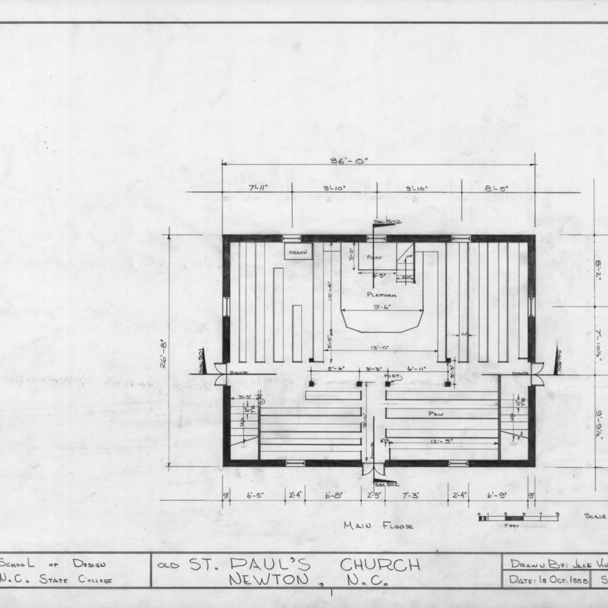 First floor plan, Old St. Paul's Lutheran Church, Catawba County, North Carolina