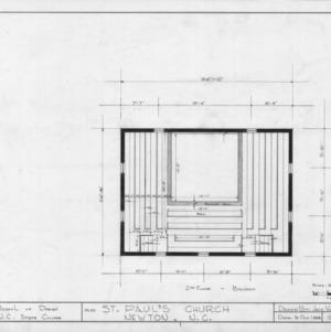 Balcony plan, Old St. Paul's Lutheran Church, Catawba County, North Carolina