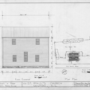 East elevation and site plan, Old St. Paul's Lutheran Church, Catawba County, North Carolina
