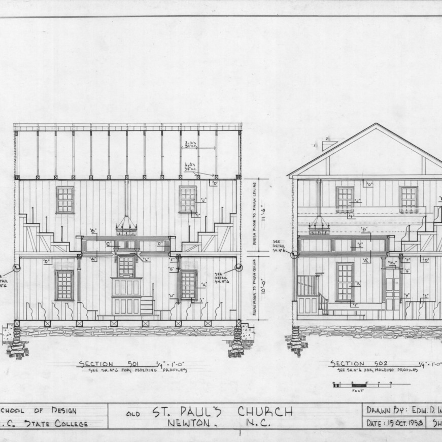 Longitudinal and cross sections, Old St. Paul's Lutheran Church, Catawba County, North Carolina