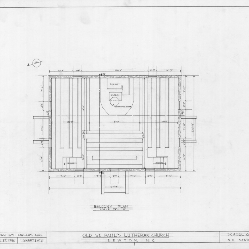 Balcony plan, Old St. Paul's Lutheran Church, Catawba County, North Carolina