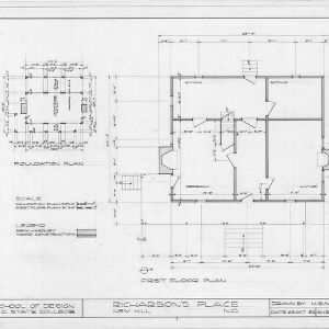 Foundation plan and first floor plan, Richardson's Place, Wake County, North Carolina