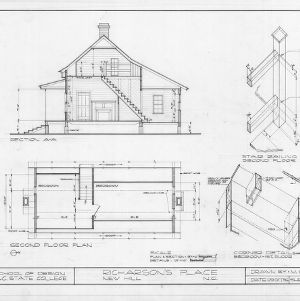 Cross section, second floor plan, and details, Richardson's Place, Wake County, North Carolina