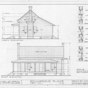 North elevation, side elevation, and details, Richardson's Place, Wake County, North Carolina