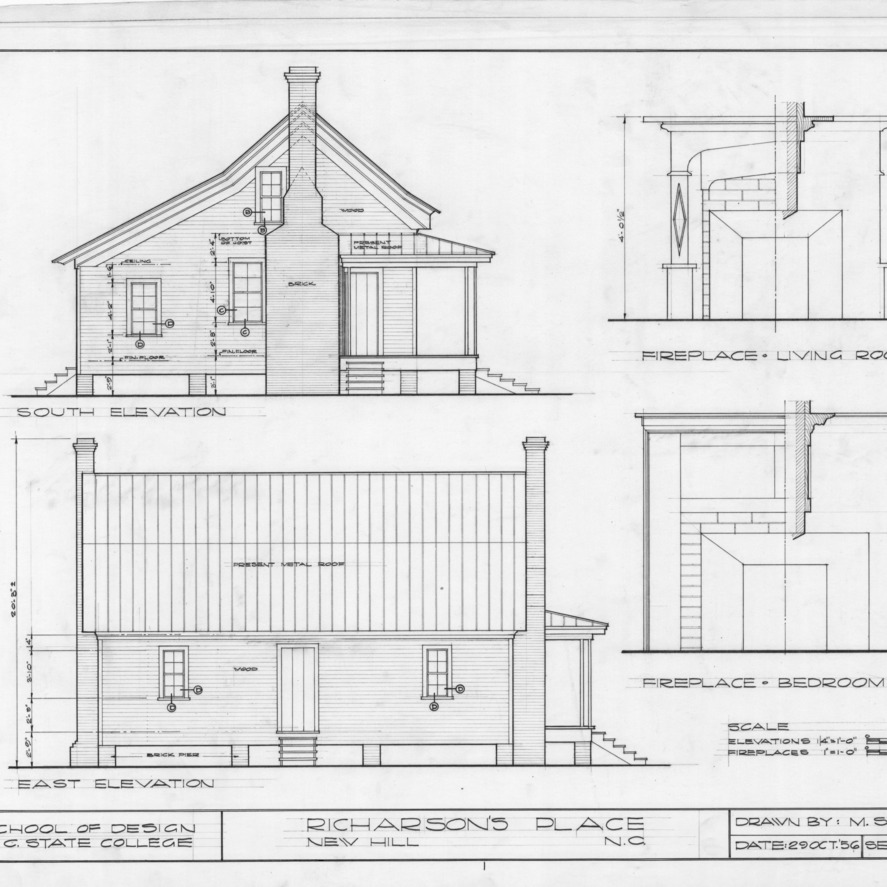 South elevation, side elevation, and fireplace details, Richardson's Place, Wake County, North Carolina