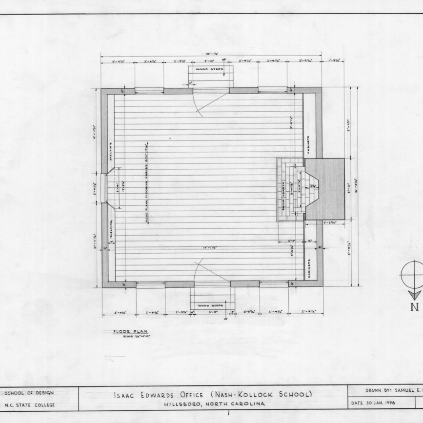 Floor plan, Cameron-Nash Law Office, Hillsborough, North Carolina