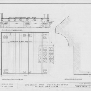 Foundation plan, foundation section, and cornice section, Cameron-Nash Law Office, Hillsborough, North Carolina