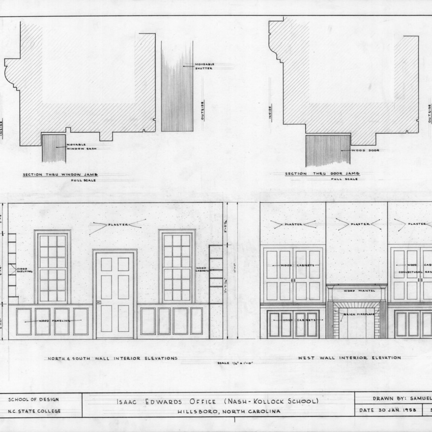 Interior elevations and details, Cameron-Nash Law Office, Hillsborough, North Carolina