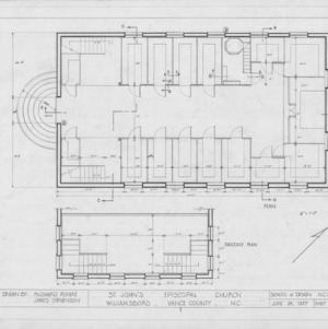 Floor and balcony plans, St. John's Episcopal Church, Williamsboro, North Carolina