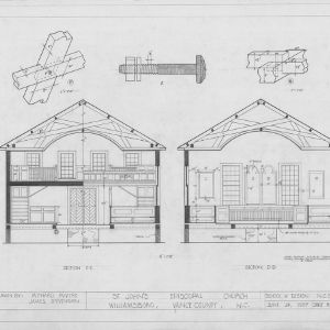 Cross sections and details, St. John's Episcopal Church, Williamsboro, North Carolina