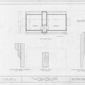 Attic plan and details, Calvin Jones House, Wake Forest, North Carolina