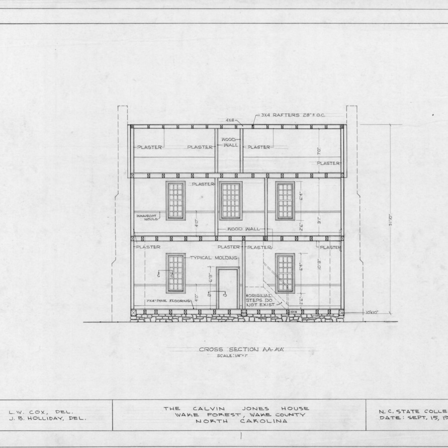 Longitudinal section, Calvin Jones House, Wake Forest, North Carolina