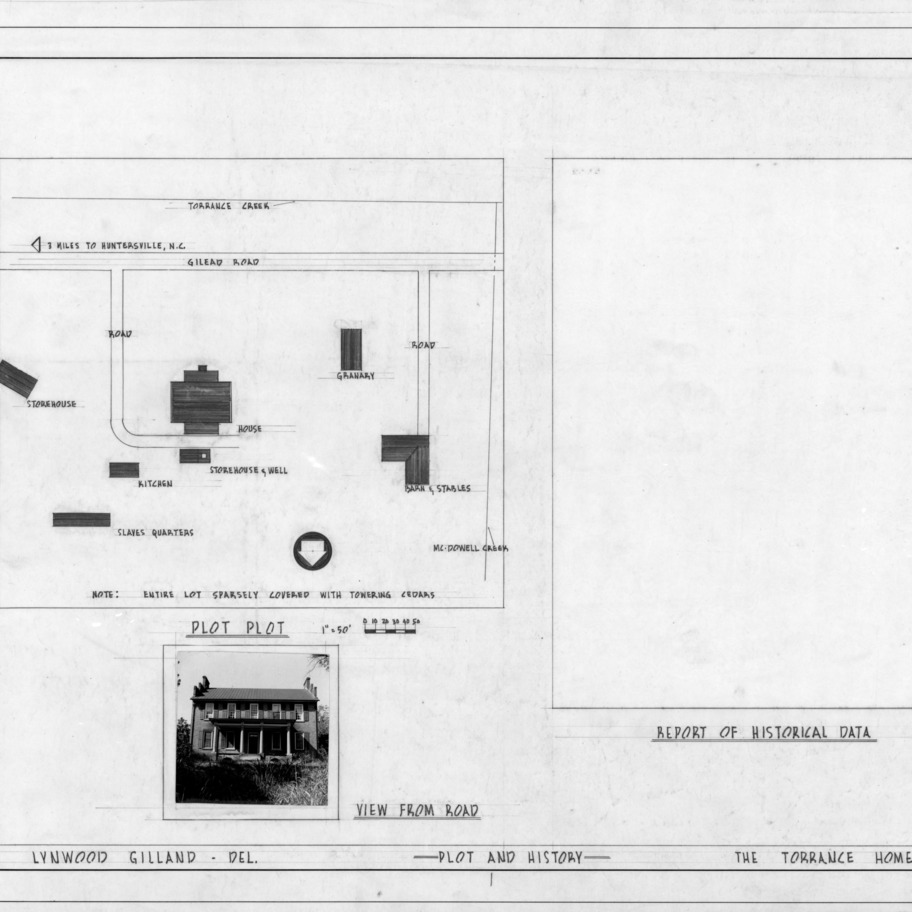 Site plan and photograph, Cedar Grove, Mecklenburg County, North Carolina