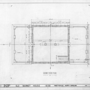 Second floor plan, Market House and Town Hall, Fayetteville, North Carolina