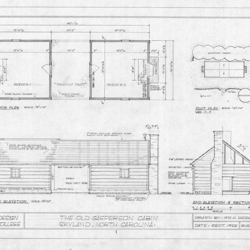 Plans and elevations, Gasperson Cabin, Asheville, North Carolina