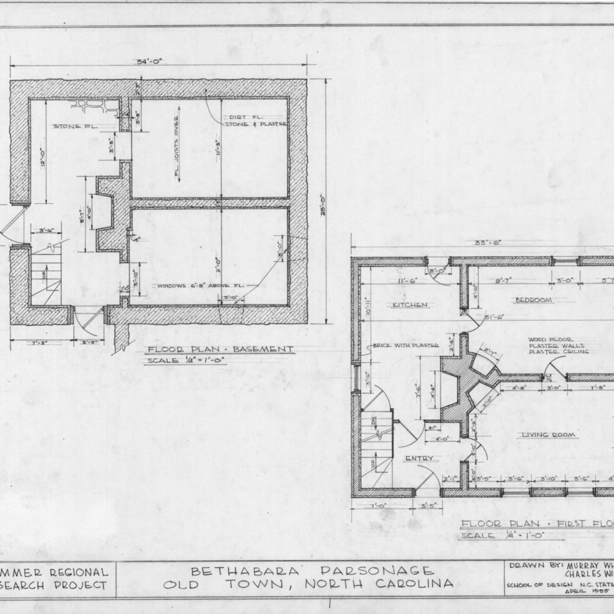 Floor plans, Brewer's House, Winston-Salem, North Carolina